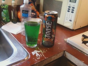 Joose, wisely sold in an opaque can. Compare color with the dish soap in the background.