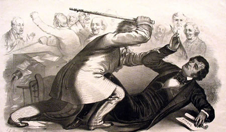 Artist's depiction of Preston Brooks beating Charles Sumner with a cane. How much better was the newspaper when it was full of drawings like this?