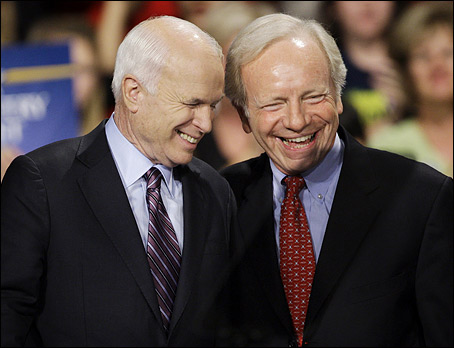 Senator Lieberman and another wealthy old man with full health insurance coverage