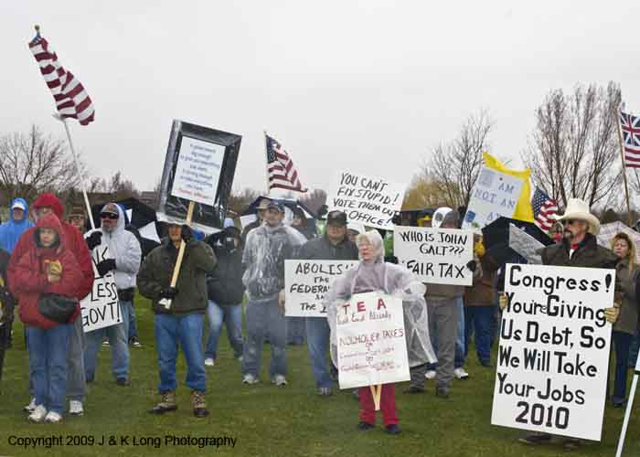 Tea Party protestors in Greeley, CO protest the runaway taxation of the Obama administration, which taxes at exactly the same rate as the Bush administration.