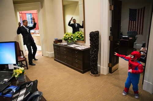 Spider-Man incapacitates the president for what is surely a good reason.