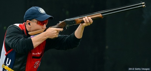 Vincent Hancock defends his gold medal in skeet shooting at the 2012 Olympics.