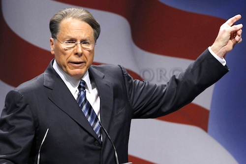 NRA executive vice-president Wayne LaPierre, seconds before having his hand shot off