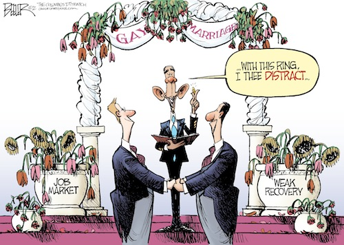 A trenchant cartoon reminding us that Obama made gay people want to get married in order to distract us from the economy.