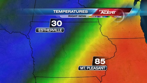Wednesday's weather map for Iowa