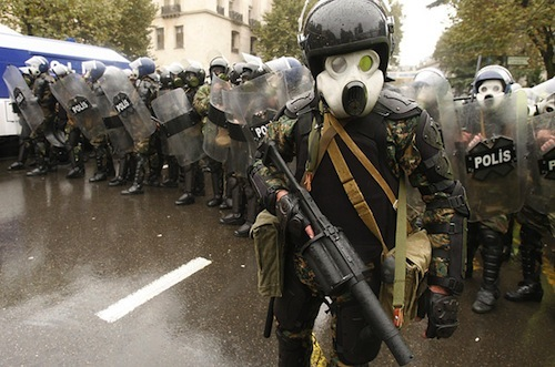 Riot police/gas-induced Mickey Mouse hallucination in Tbilisi