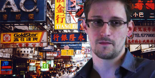 Whistleblower and former NSA contractor Edward Snowden, helpfully superimposed on Hong Kong by the internet