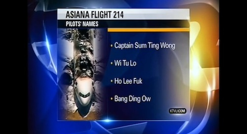 Screencap from KTVU's coverage of the crash of Asiana Airlines flight 214