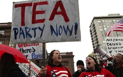 Tea Party protesters distill their platform to its core message.