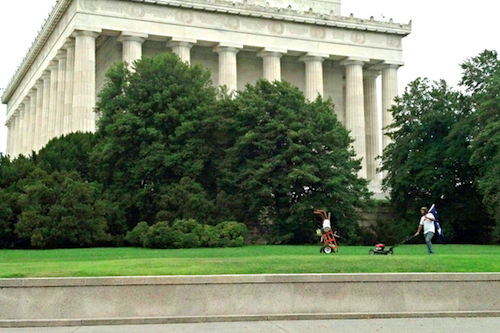 Chris Cox of South Carolina mows the lawn at the Lincoln Memorial, because he is awesome.