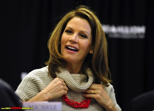 A rare image from Stars Without Makeup catches Michele Bachmann without her prosthetic eyes.