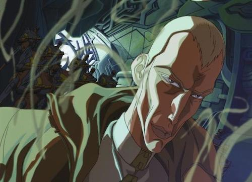 "Trevor Goodchild confronts some dilemma or another in the ""Thanatophobia"" episode of Aeon Flux."