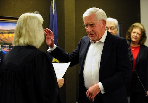 Max Lenington is sworn in for yet another county office.