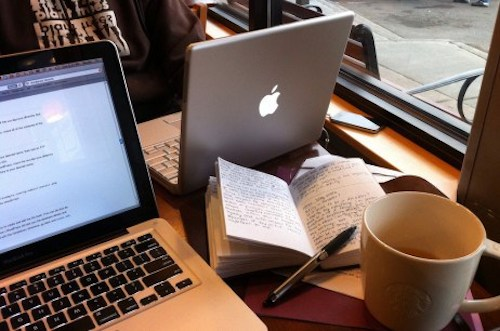 As usual, the coffeeshop writer is looking at the internet.
