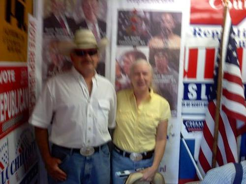 Republican precinct captains Rick and Valerie Stamey in September/motion. Valerie Stamey is now Ravalli county treasurer.