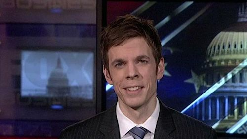 Thirty year-old Michael Saltsman, director of research for the Employment Policy Institute, whose face is gradually becoming evil