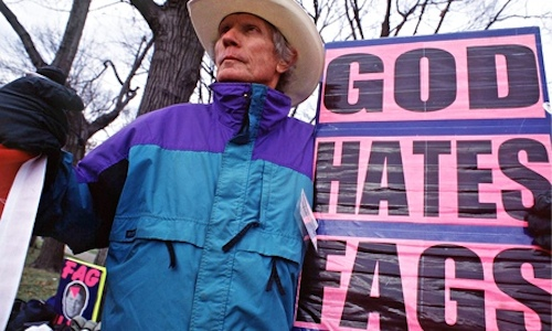 Pastor Fred Phelps of the Westboro Baptist Church. Not pictured: men's parka.
