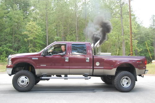 A Ford Powerstroke diesel, modified to produce extra smoke and marketed to men with perfectly normal penises