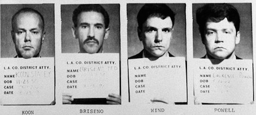 Mug shots of four LAPD officers acquitted in the beating of Rodney King