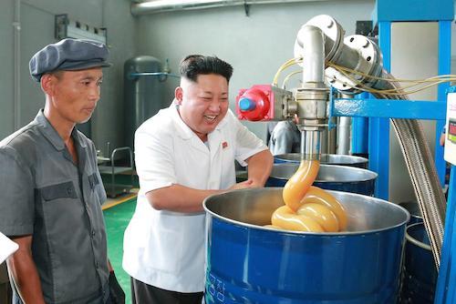 Kim Jong Un visits a lubricant factory.