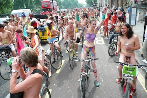 An image from the 2007 World Naked Bike Ride in London