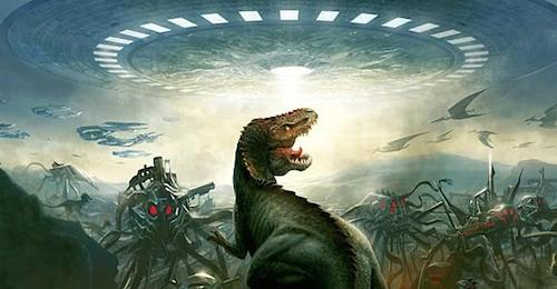 Dinosaurs and aliens vie for control of Earth.