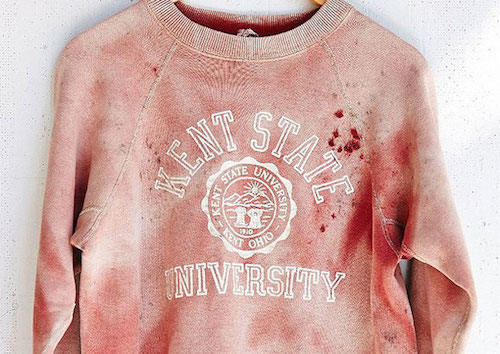 An apparently bloody Kent State sweatshirt Urban Outfitters promoted in an email blast.