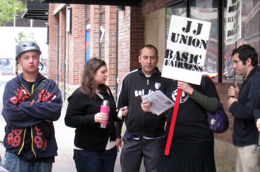 Minneapolis Jimmy John's workers strike for the right to join a union in 2011.