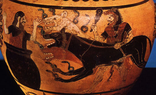 Cerberus, the original dog from hell, and a Trojan unhappy to see him