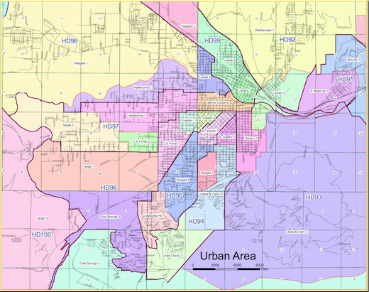 The 2003-2013 electoral map divided Missoula into nine convenient house districts.
