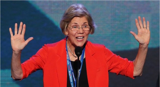 Mime Elizabeth Warren fights back against Big Box.