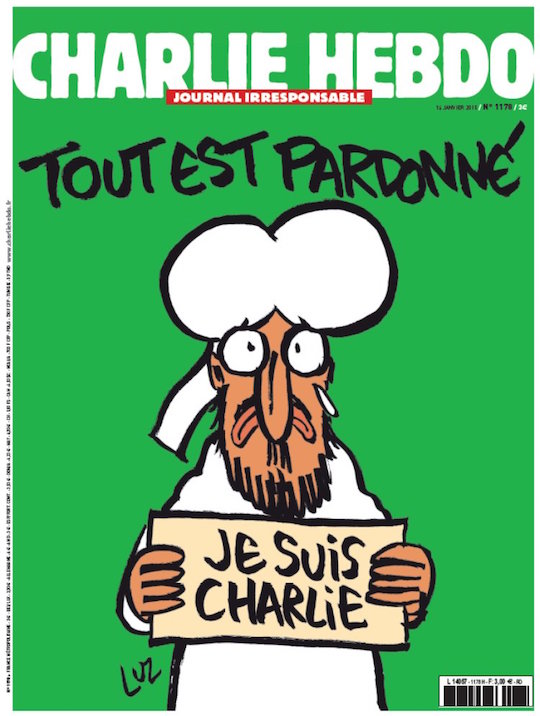 "The first cover of Charlie Hebdo since last week's attacks reads ""all is forgiven."""