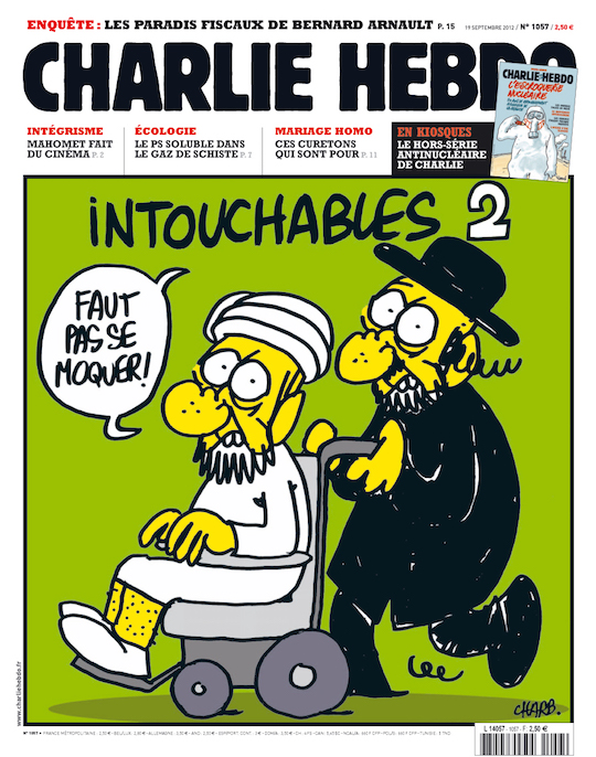 A cover from the French satirical newspaper Charlie Hebdo