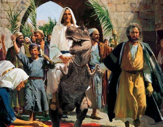 Jesus rides into Bethlehem on a dinosaur, just like in Exodus.