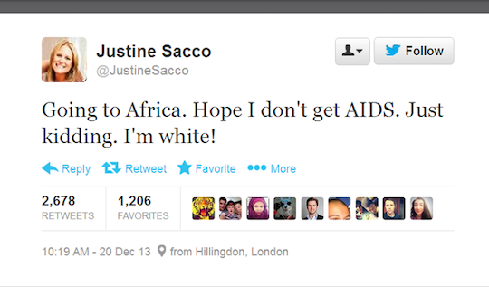 The tweet that made Justine Sacco internet famous