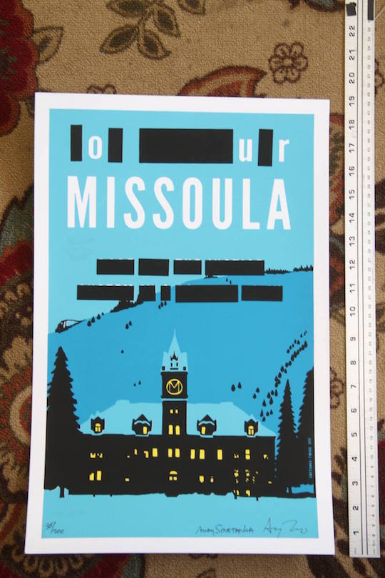 A poster by Missoula artist Andy Smetanka, parodying the cover of Krakauer's book