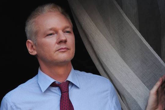 Julian Assange at the Ecuadorian embassy in London