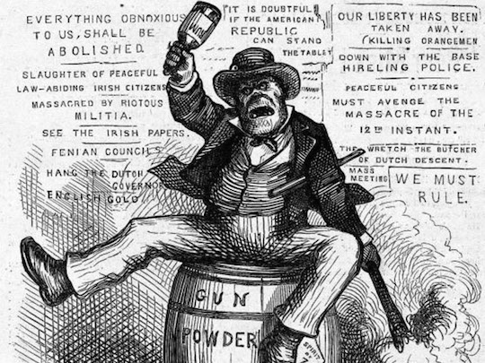 """The Usual Irish Way of Doing Things"" by Thomas Nast, 1871"