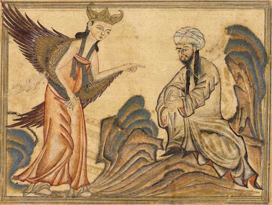 The prophet Muhammad receives his revelation from the angel in a 14th-century illustration.