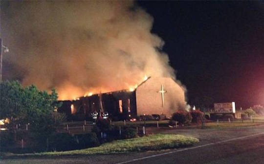 Mount Zion African Methodist Episcopal Church in South Carolina burns last night.