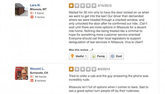 One-star Yelp reviews of Yellow Taxi