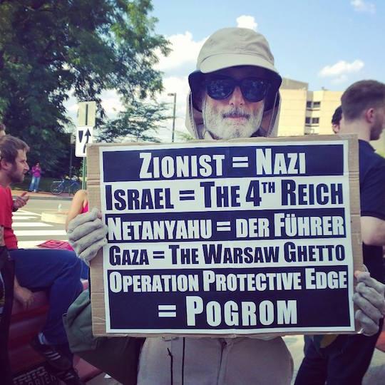 A protestor outside the Israeli embassy in Washington last July