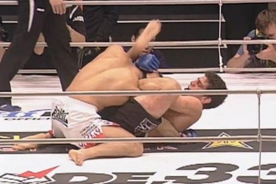 Nick Diaz submits Takanori Gomi via gogoplata in 2007. His win would be overturned following a failed drug test.