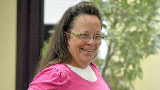 Rowan County Clerk Kim Davis, who refuses to issue marriage licenses despite a court order