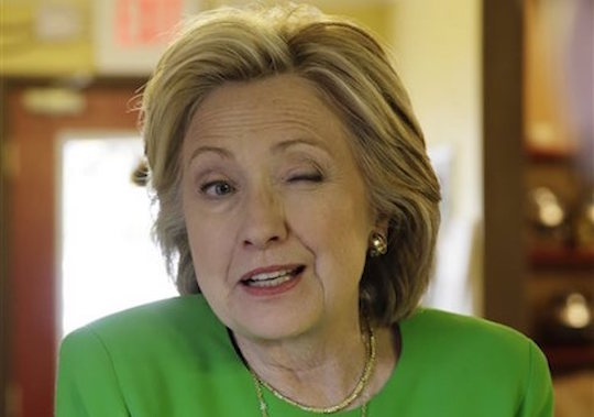 Hillary Clinton closes her left eye for 15 seconds so the average voter knows she's winking.