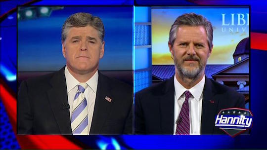 Jerry Falwell, Jr. and the top frown in downtown Clown Town [left]