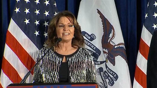 Sarah Palin endorses Donald Trump in Ames, Iowa.