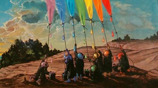 Senator Steve Daines (R-MT, second right) milks a rainbow with the Congressional Goblin Caucus.