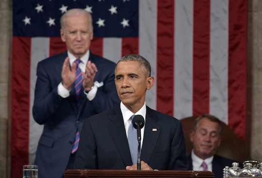 President Obama delivers his State of the Union address in 2015.