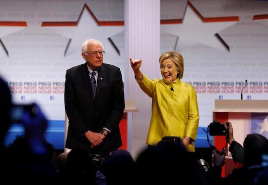 Bernie Sanders and Hillary Clinton work the crowd.